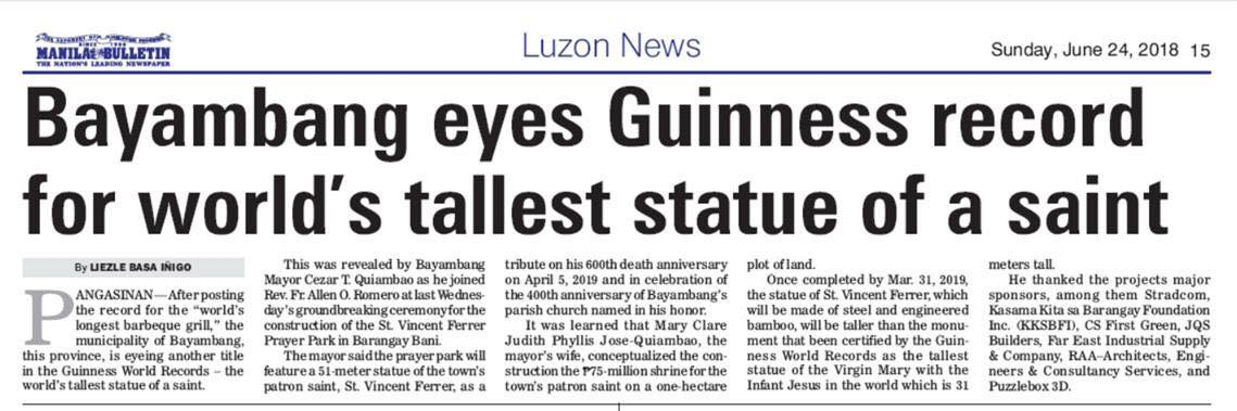 Bayambang eyes Guinness record for world's tallest statue of a saint