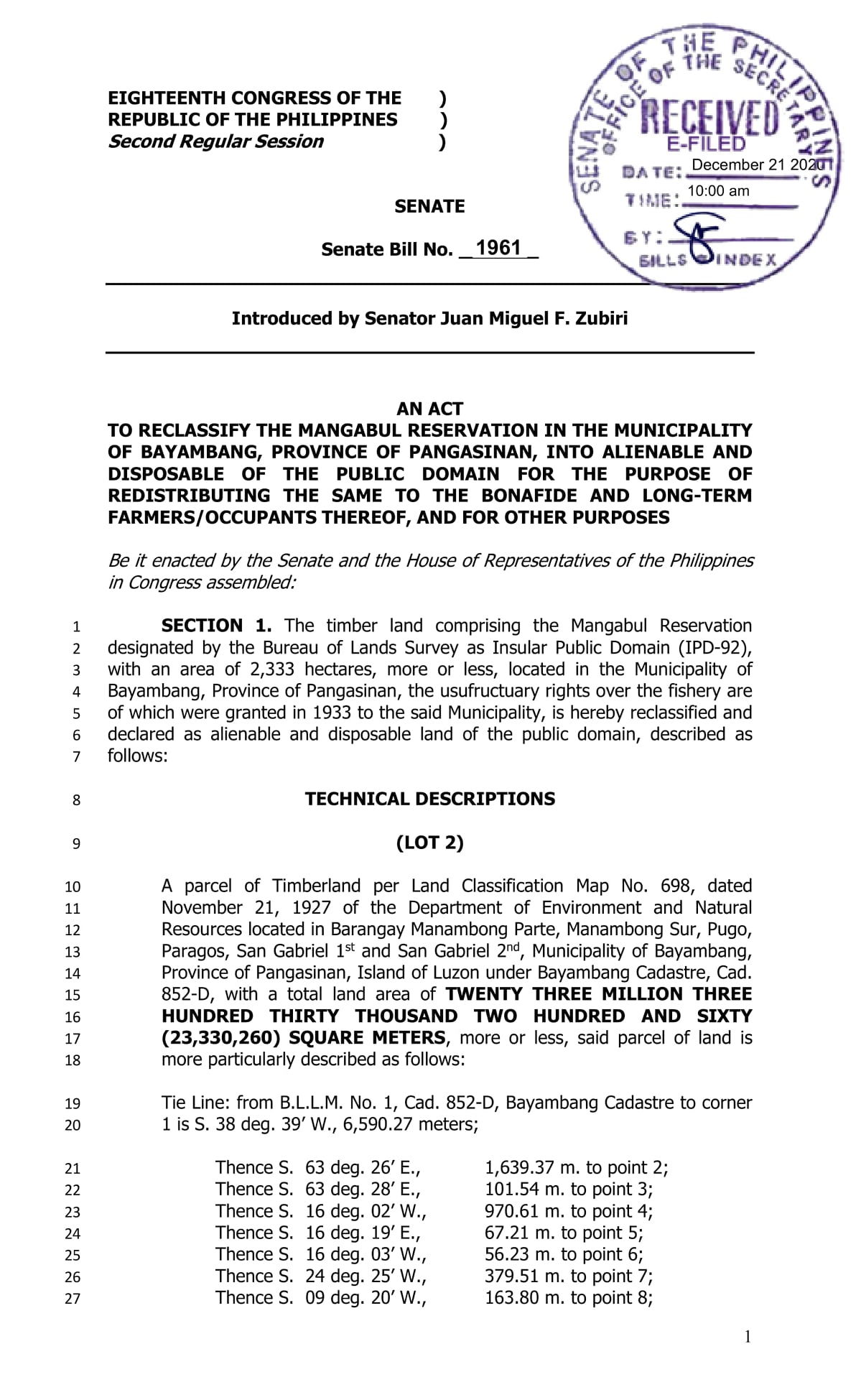 Zubiri Files Mangabul Bill in Senate